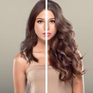 Antes-después extensiones Vanityhair cabello castaño