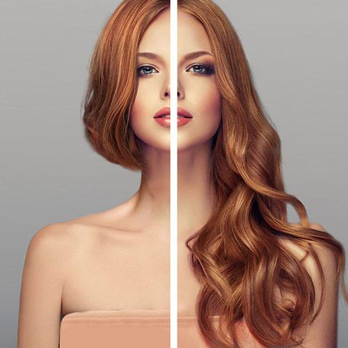 Antes-después extensiones Vanityhair cabello pelirojo