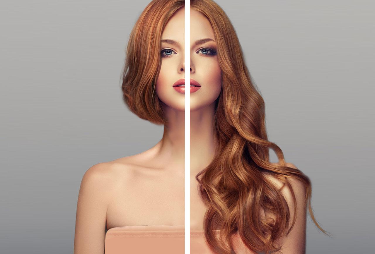 Extensiones Vanityhair: Antes y depués (pelirrojo)